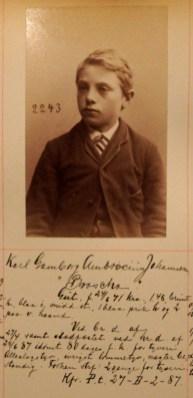 Karl Gamborg Ambrocius Johannesen (16). Kallenavn Broscha. 80 dager fangekost for tyveri. Alleslagstyv, ivrigst lommetyv, nægter bestandig. (Foto: Norsk rettsmuseum ©)