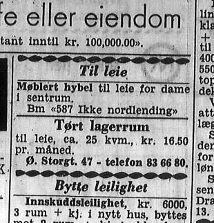 Annonse fra Drammens Tidende, 1. mars 1960. (Foto: Nasjonalbiblioteket)