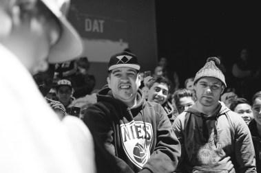 Fra «5 elementer» på Rommen scene, 28. februar 2014 – et rap/battle-arrangement i regi av Jonathan Castro og Hiphop101. (Foto: Piril Maria Kurekci)
