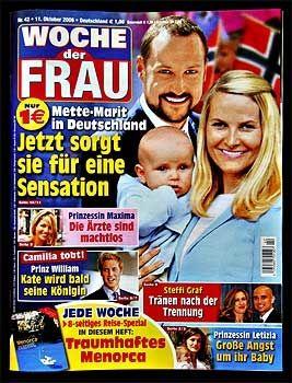Faksimile fra tyske Woche der Frau i 2006, hvor Mette-Marits graviditet ble «avslørt».