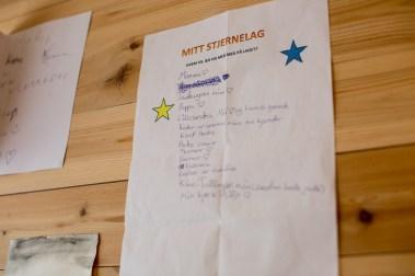 - Vi har MOT her på skolen og da lager vi stjernelag. Dette er en liste over de jeg vil ha med på mitt lag, sier Laila. (Foto: Mari Aftret Mørtvedt/NRK)