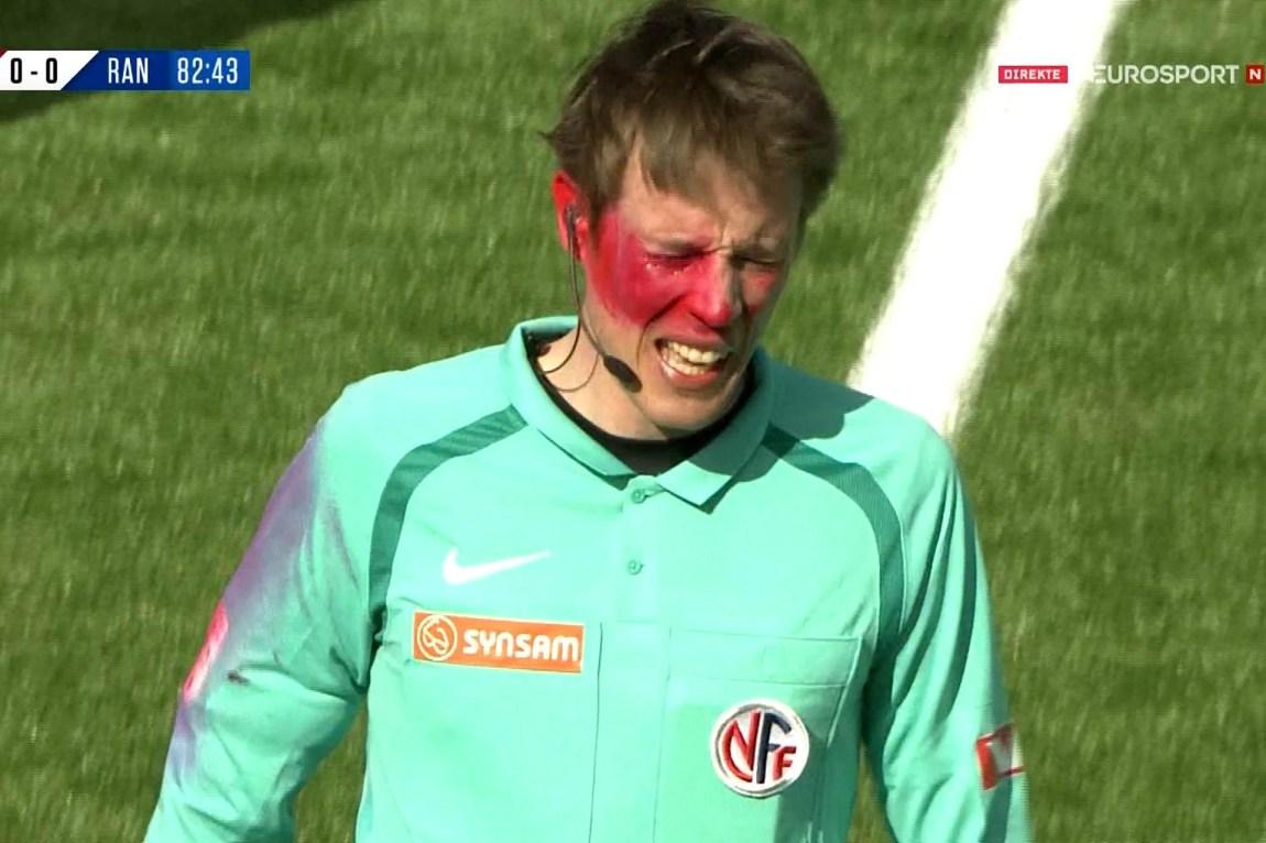 Linjedommer Ole Andreas Haukåsen ble angrepet med pepperspray i slutten av april. Foto: Eurosport