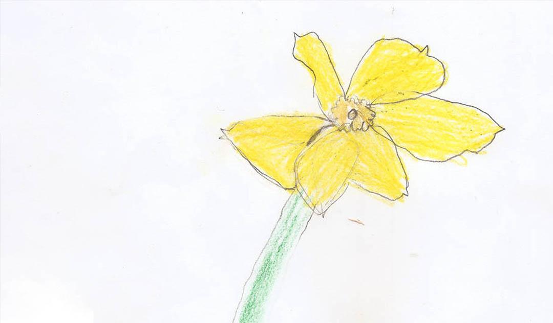 Barnetegning av en gul blomst
