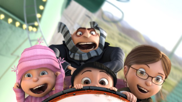 Gru og barna på tivoli i Grusomme meg. (Foto: UIP)