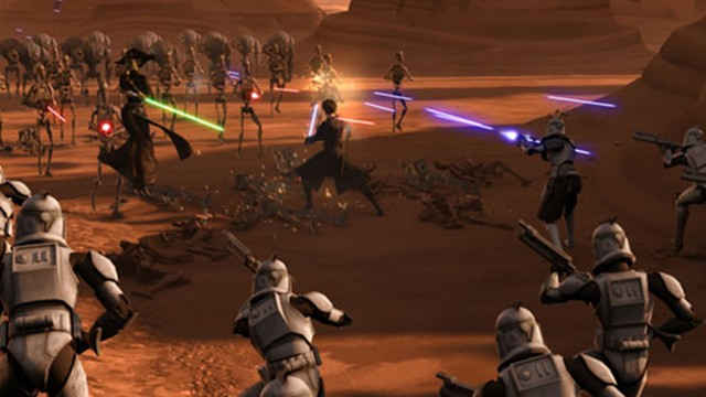 Lasersverdsvingende action i Star Wars The Clone Wars sesong 2. (Foto: Warner Bros. Entertainment)