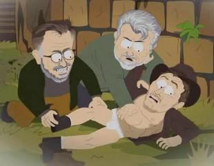 Slik viser South Park hvordan George Lucas og Steven Spielberg voldtar Indiana Jones. (Foto: Comedy Central)