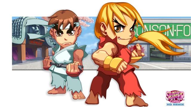 Søte karikaturer av Ken og Ryu i sine karakteristiske karatedrakter. (Foto: Capcom).