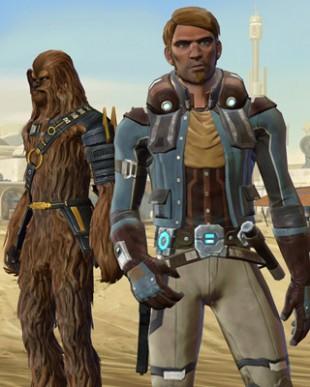 Så totalt uforventet at Han Solo-inspirerte Smugler-yrket, har en Wookie på slep. (Foto: EA)