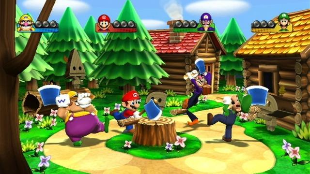 Fantastisk bruk av Wii-moten i Mario Party 9! I denne reaksjonsleken skal man bruke hogge ved og unngå bomber. (Foto: Nintendo)