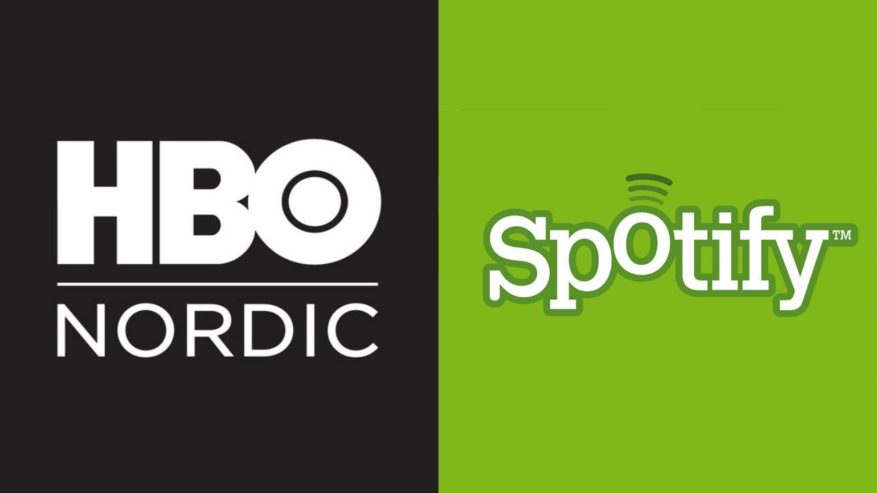 Logoen til HBO Nordic og Spotify. (Foto: hbonordic.com og spotify.com)