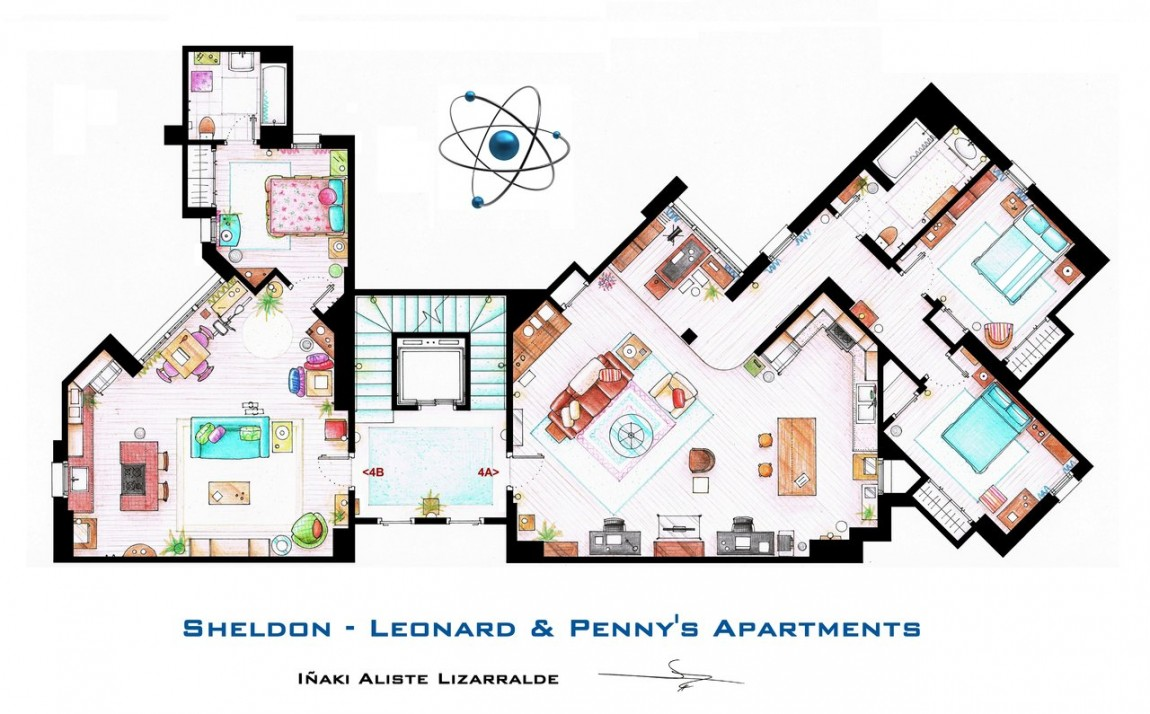 Leilegheitene til Sheldon og Penny i Big Bang Theory.  (Bilde: Iñaki Aliste Lizarralde)