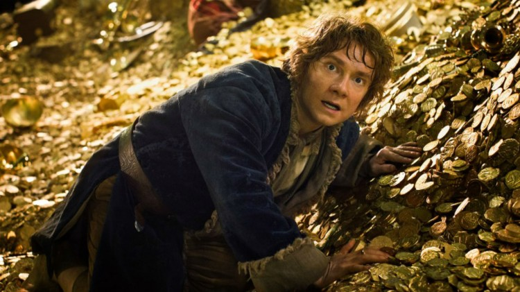Martin Freeman som Bilbo når han møter Smaug. (Foto: Metro-Goldwyn-Mayer Pictures Inc. og New Line Productions, Inc.).