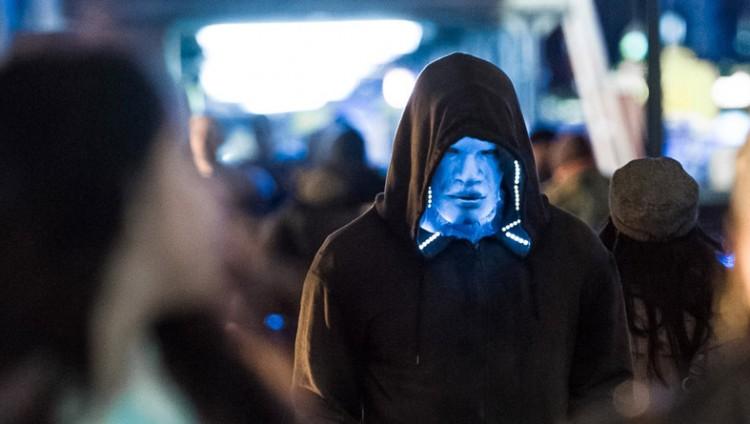 Det første biletet av filmens skurk, Electro, med Jamie Foxx i hovudrolla. (Foto: Sony)