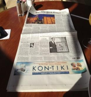 Kon-Tiki på framsida av New York Times. (Foto: Espen Sandberg/Joachim Rønning)