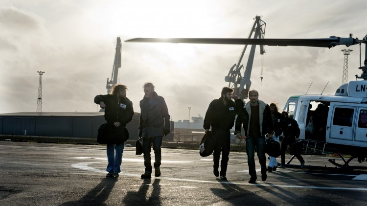 Stephen Lang, Wes Bentley og Aksel Hennie i Pionér (Foto: Erik Aavatsmark / Friland Produksjon AS).