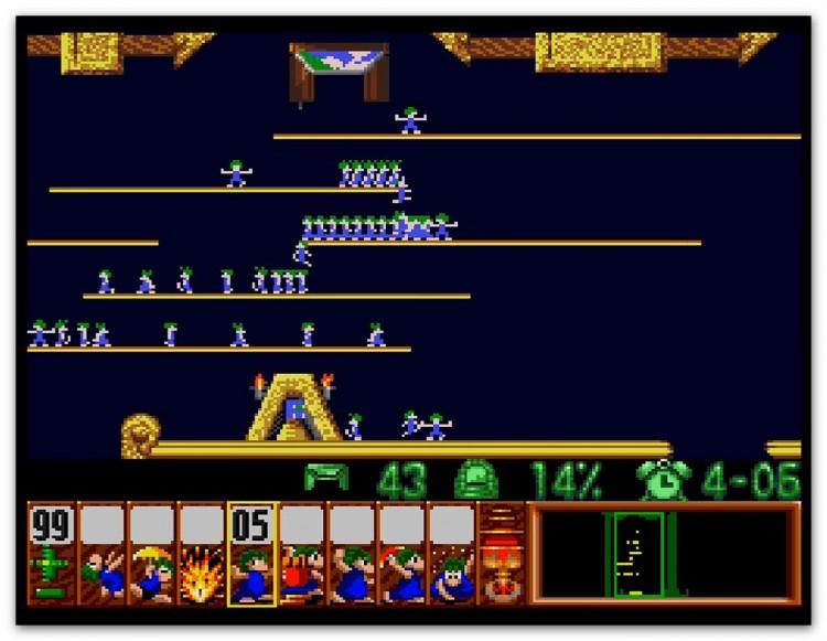 Skjermbilde fra «Lemmings» (1991), den første store suksessen til DMA Design. (Foto: Psygnosis)
