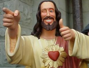 Ikkje alle representasjonar av Jesus på film har fulgt kjeldematerialet like nøye. Her, Buddy Christ frå «Dogma».