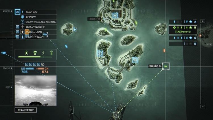 I Commander-funksjonen kan du innta en taktisk rolle for å støtte laget ditt med ulike våpen. Skjermbilde fra «Battlefield 4». (Foto: EA / DICE)