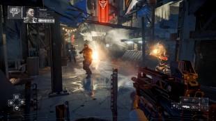 De lysende røde øynene gjør Helghast-fiendene lette å kjenne igjen. Skjermbilde fra «Killzone: Shadow Fall». (Foto: SCEE)