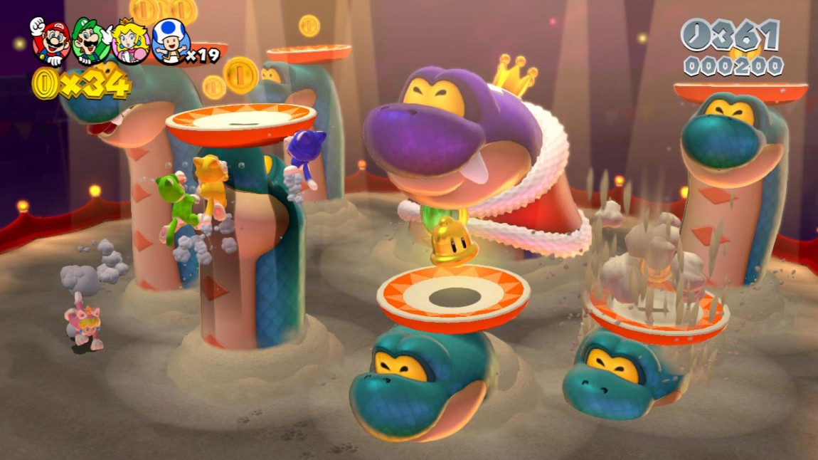 Med bjelleoppgraderingen får Mario og vennene på seg kattedrakter i «Super Mario 3D World». Å klore eller klatre oppover vegger og tårn åpner tidligere stengte deler av brettene for utforskning. (Foto: Nintendo)