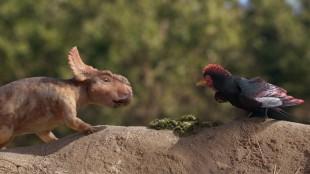 Patchi snakker med forhistorisk fugl i Walking With Dinosaurs (Foto: Fox Film).