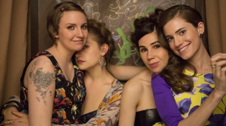 Lena Dunham, Jemima Kirke, Zosia Mamet og Allison Williams, som spelar hhv. Hannah, Jessa, Shoshanna og Marnie i «Girls». (Foto: HBO)