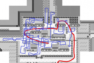 Raud er anbefalt rute, blå er Twitchplayspokemon si rute.
