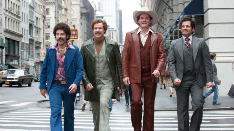 Brian Fantana, Ron Burgundy, Champ Kind og Brick Tamland med nye frisyrer i Anchorman: The Legend Continutes (Foto: UIP).