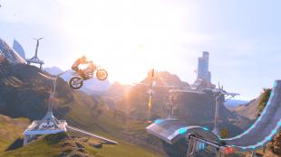 Høye hopp i futuristiske landskap kjennetegner «Trials Fusion». (Foto: Red Lynx)