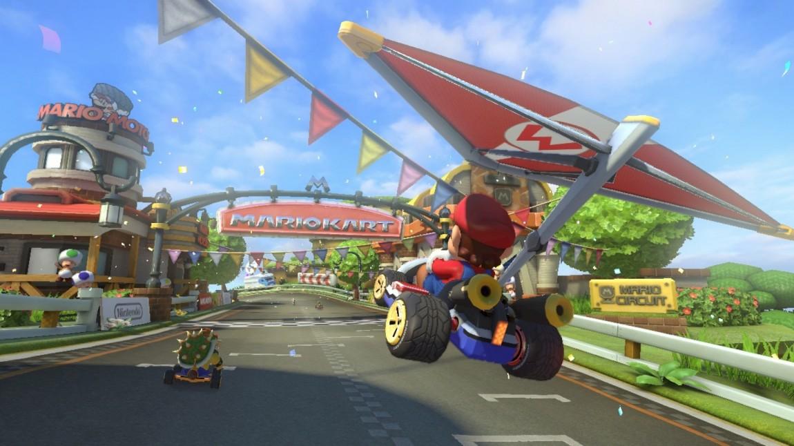 Hoppene er høyere, og fallskjermer og paraglidere lar deg flyr lengre enn i tidligere spill. Skjermbilde fra «Mario Kart 8». (Foto: Nintendo)