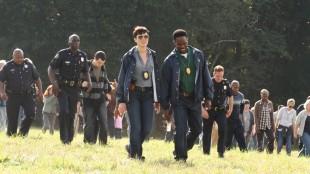 Olivia Williams og Harold Perrineau spiller politietterforskere i Sabotage (Foto: Nordisk Film Distribusjon AS).