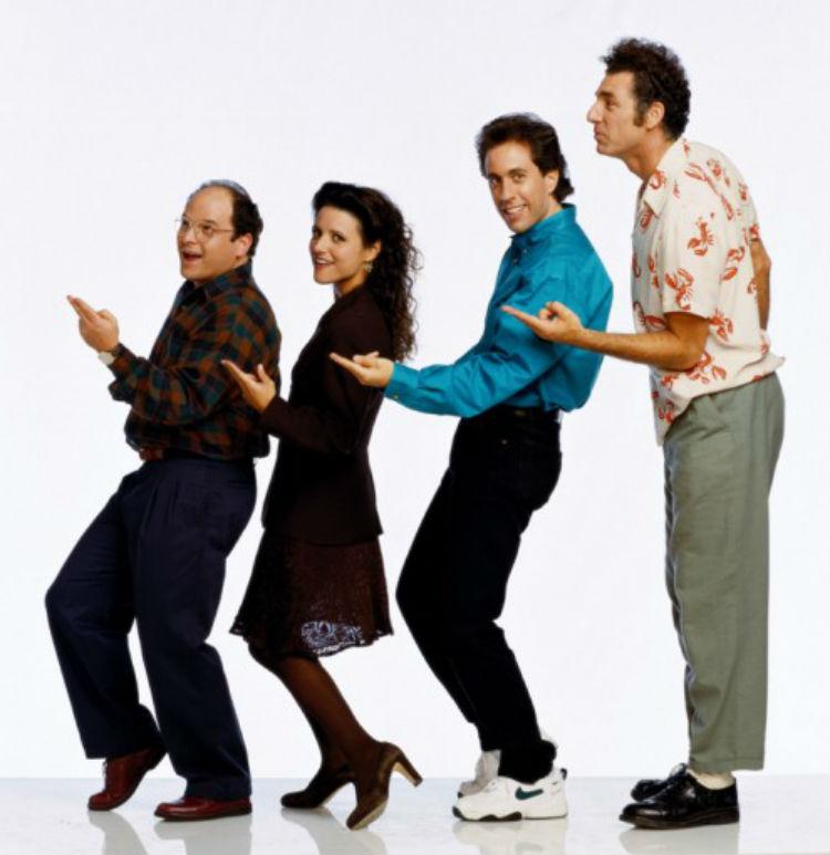 George, Elaine, Jerry og Cosmos – i et promobilde for serien. (Foto: NBC / Sony)