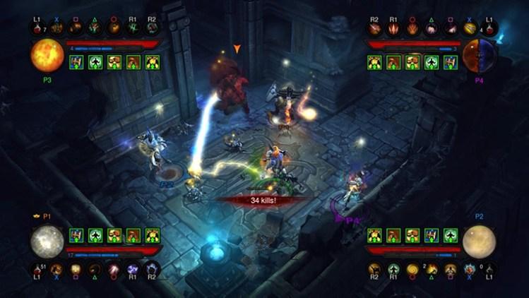 Lokal flerspiller er et velkomment tilbud på konsoller, med et oversiktelig brukergrensesnitt. Fraværet av helseinformasjon på fiender når flere spillere er sammen er likevel et stort savn. Skjermbilde fra «Diablo 3: Reaper of Souls». (Foto: Blizzard)