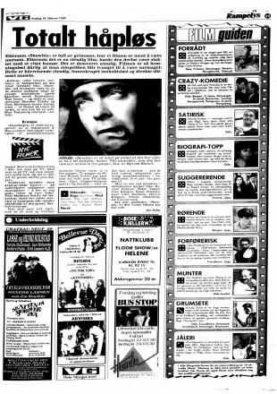 Anmeldelse av «Showbiz» i VG den 10. februar1989. (Faksimile)