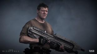 Steve Waddington er troverdig og gnistrende i rollen som soldaten Randall Aiken. Han utspiller alle sine kolleger i «Halo: Nightfall». (Foto: Microsoft / 343 Industries)