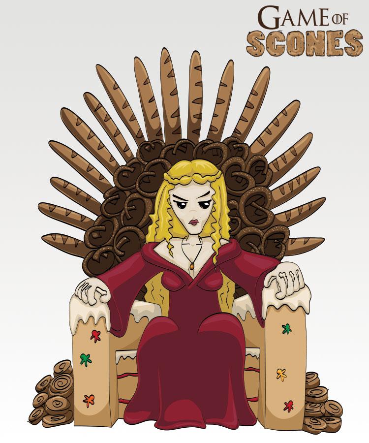 Cersei Lannister i sin gjærtrone (Illustrasjon: Martin Aas / NRK)