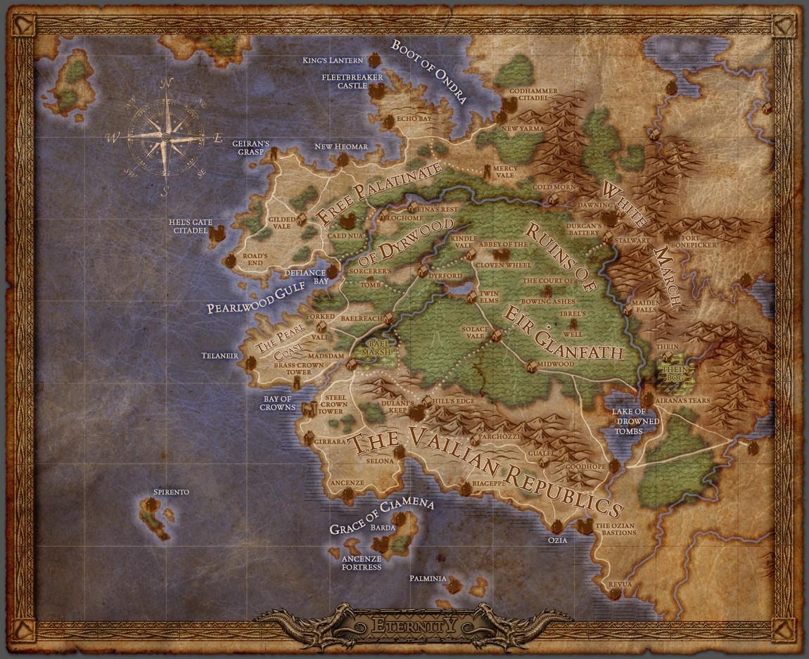 Verdenskartet over Eora er stort, og områdene som er tilgjengelig for utforsking er svært mange. Historien og arbeidet som er lagt ned i å skape en god spillverden er imponerende. (Foto: Obsidian Entertainment)