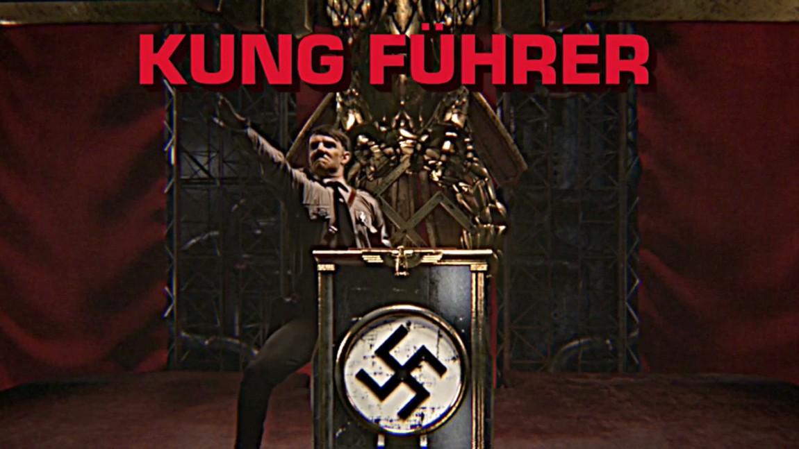 Skurken er Adolf Hitler, aka Kung Führer, som er full av skitne kampsporttriks. (Skjermdump fra Kung Fury, Foto: LaserUnicorns, kungfury.com)