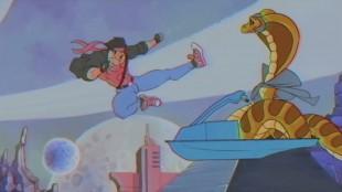 Kung Fury møter sit «spirit animal», og truer det med juling.(Skjermdump fra Kung Fury, Foto: LaserUnicorns, kungfury.com)
