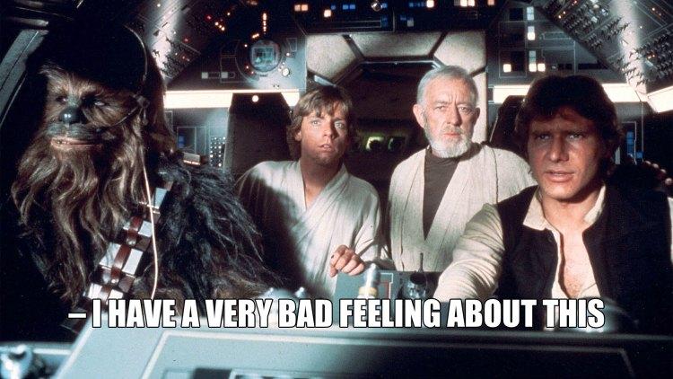 Luke får en dårlig følelse når de nærmer seg Dødsstjernen. (Foto: Lucasfilm / Disney)