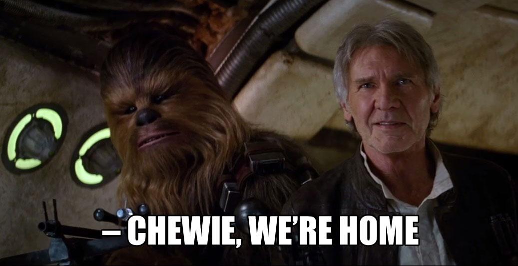 Vi har jo ikke sett filmen ennå, men vi føler allerede på nostalgien når vi ser bildet av disse gode vennene. (Foto: Lucasfilm / Disney)