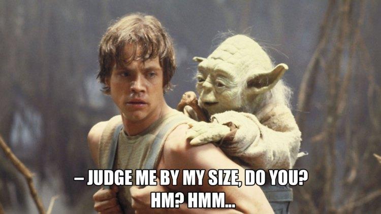 Yoda er så liten at han kan ri på ryggen til Luke. <3 (Foto: Lucasfilm / Disney).