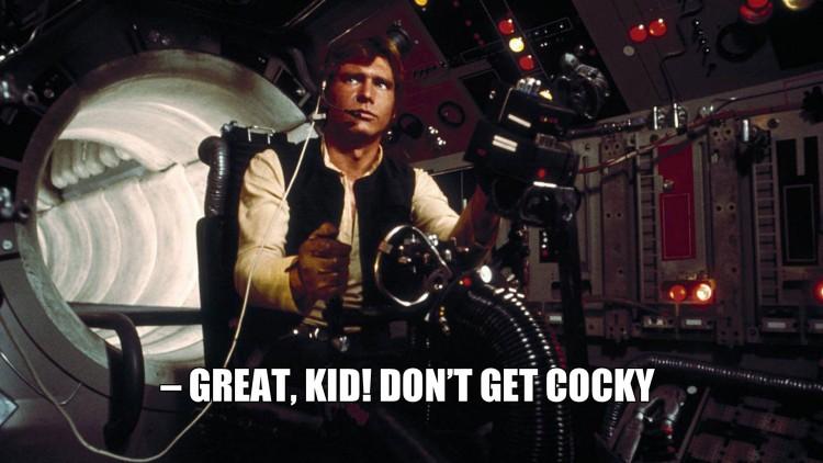 Han Solo og Luke (i andre enden av tunnelen) skyter på TIE Fightere i A New Hope. (Foto: Lucasfilm / Disney).