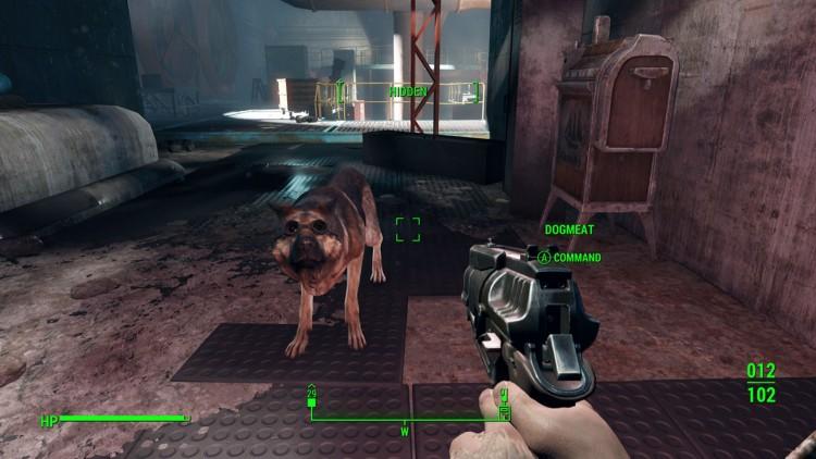 Okey, Dogmeat! Nå skyter jeg deg fordi du har gått i beina på meg for n'te gang! Neeeeeeida! (Skjermdump: Marte Hedenstad, Bethesda Softworks).
