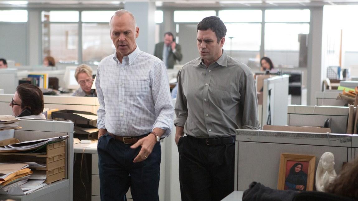 "Michael Keaton og Mark Ruffalo i den historiske spenningsfilmen ""Spotlight""."