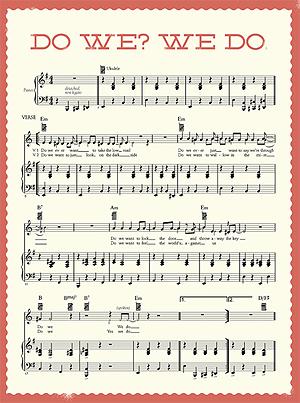 """Slik vil det se ut: Et av notearkene fra låta """"Do We? We Do"""" av Beck. Foto: Promo."""