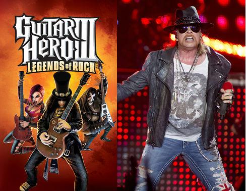 """Slash på """"Guitar Hero""""-coveret og Axl Rose. (Foto: Promo, NTB Scanpix, AFP, Paul Bergen)"""