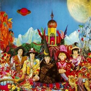 """The Rolling Stones utkledd som trollmenn på albumcoveret til """"Their Satanic Majesties Request""""."""