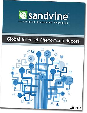 Rapporten fra Sandvine som viser at menden BitTorrent-trafikk stuper i USA, mens den øker i Europa. Foto: Skjermdump.