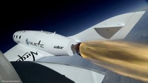 Et av Virgin Galactics romskip. Foto: Virgin Galactic